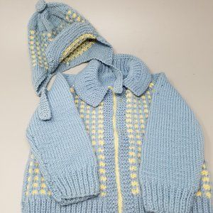 NEW - Handmade Knit Baby Sweater with Hat